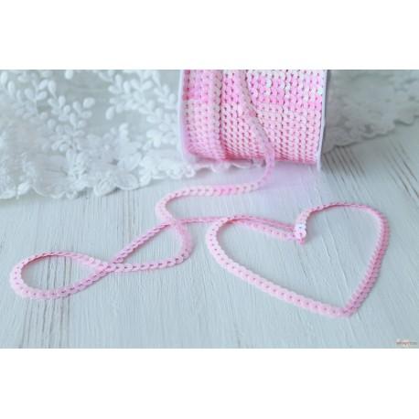 Пайетки на нитке, цвет нежно-розовый, 6мм, 1ярд