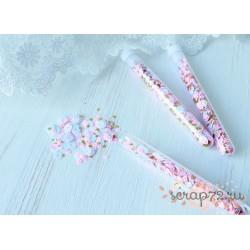 Пайетки в колбе Little princess, микс бело-розовых пайеток с золотыми звёздами