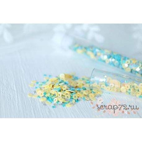 Пайетки в колбе Little prince, микс голубых и желтых пайеток с серебряными звёздами
