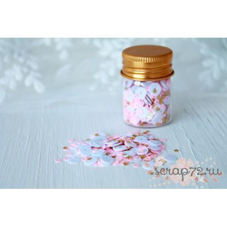 Пайетки в баночке Little princess, микс бело-розовых пайеток с золотыми звёздами