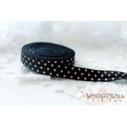 Лента-резинка, цвет черный с золотым горохом, ширина 16мм, отрез 90см