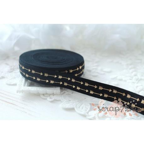 Лента-резинка, цвет черный с золотыми стрелочками, ширина 16мм, отрез 90см