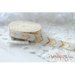 Лента-резинка Шеврон, цвет бежевый/белый/золото, ширина 16мм, отрез 90см