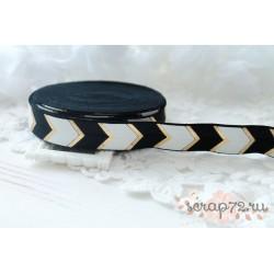 Лента-резинка Шеврон, цвет черный/белый/золото, ширина 16мм, отрез 90см