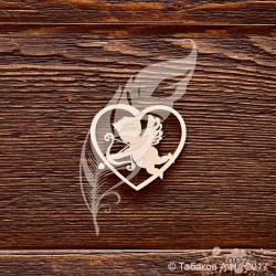 Чипборд Сердце с ангелочком, размер 4*3,6 см.