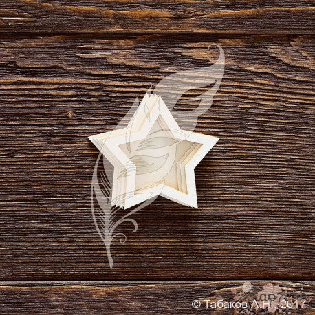 Чипборд Заготовка для шейкера звёздочка, (5х4,7 см), (4 элемента из картона + 2 пластиковых вставки)