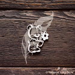 Чипборд Мишутка с цветочком (4х5 см)