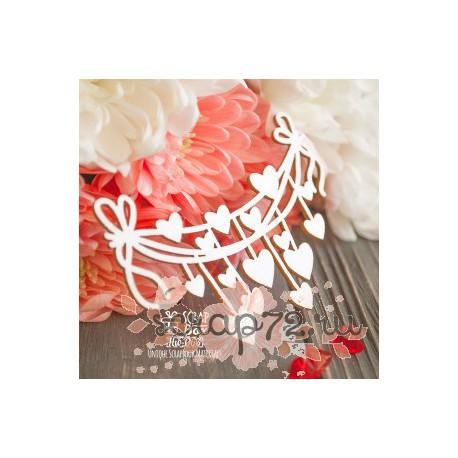 Чипборд Гирлянда с подвесками сердечками Hw-063, 80 x 55 мм