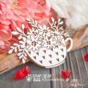 Чипборд Чашка в сердечках с цветами Hf-184, 65 x 53 мм