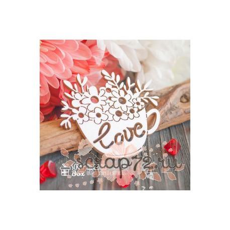"Чипборд Чашка с цветами "" Love"" Hm-077, 55 x 48 мм"