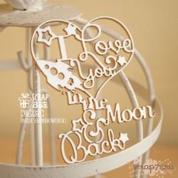 "Чипборд надпись ""I love you to the moon and back"" с сердечком Hi-250  59 x 70 мм"
