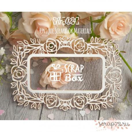 """Чипборд рамка прямоугольная """"Розы"""" 98 x 66 мм"""