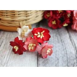 Букетик из цветов вишни, красные тона, 2.5см, 5шт.
