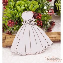 Чипборд свадебное платье с розами Hm-081, 81 x 81 мм