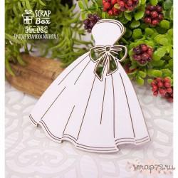 Чипборд свадебное платье с бантом Hm-082, 81 x 81 мм