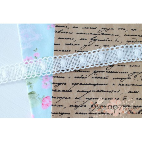 Тесьма декоративная, хлопок, 2,5  см, цвет белый, 90 см.