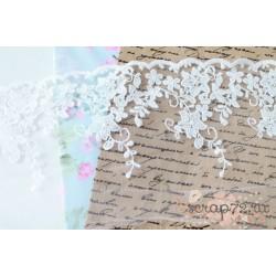 Кружево декоративное на сетке, 14 см, цвет белый,  90 см