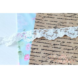 Кружево декоративное на сетке, 3см, цвет белый, 90 см.