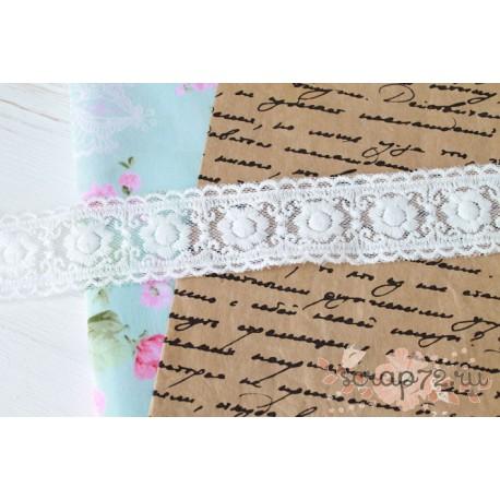 Кружево декоративное на сетке,  3 см, цвет белый, 90см.