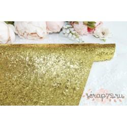 Ткань с крупным глиттером, цвет жёлтый (золотой), 0.7мм, отрез 35*49 см