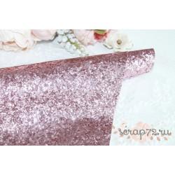 Ткань с крупным глиттером, цвет розовый, 0.7мм, отрез 35*50 см