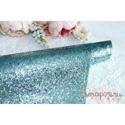 Ткань с крупным глиттером, цвет голубой, 0.7мм, отрез 35*50 см