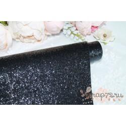 Ткань с крупным глиттером, цвет черный, 0.7мм, отрез 35*49 см