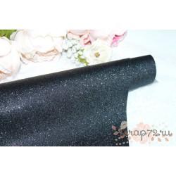 Ткань с глиттером, цвет черный, 0.7мм, отрез 34*49 см