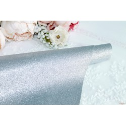 Ткань с глиттером, цвет серебряный, 0.7мм, отрез 34*49 см
