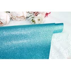 Ткань с глиттером, цвет темно-голубой, 0.7мм, отрез 34*49 см