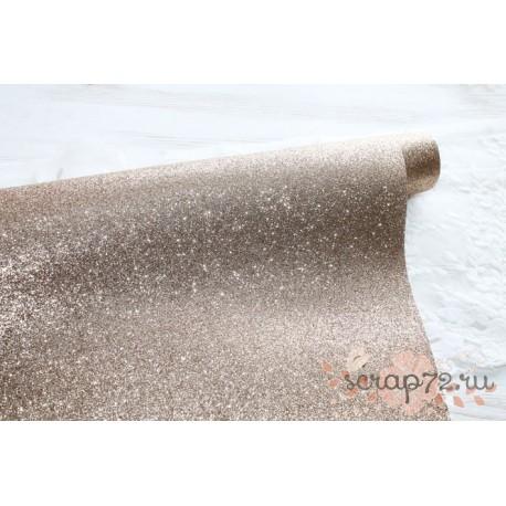 Ткань с глиттером, цвет бежевый, 0.7мм, отрез 34*48 см