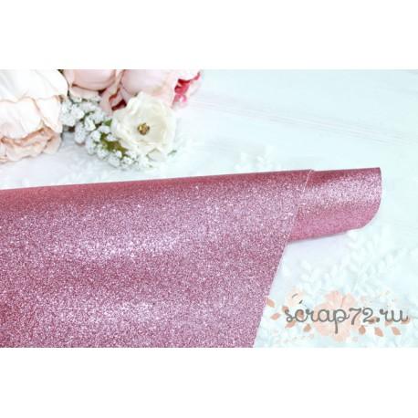 Ткань с глиттером, цвет розовый, 0.7мм, отрез 35*49 см
