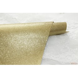 Ткань с глиттером, цвет жёлтый (золото с желтым оттенком), 0.7мм, отрез 33*48 см