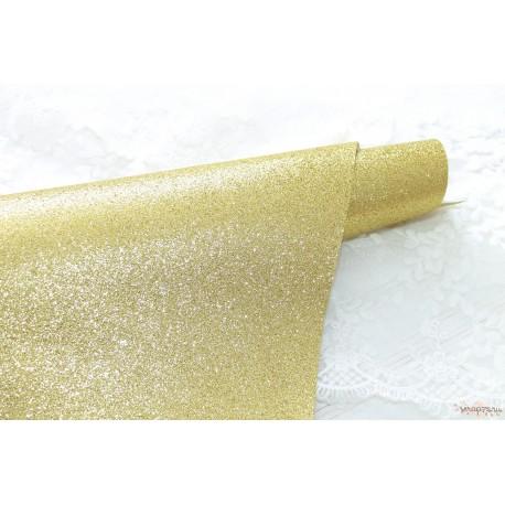Ткань с глиттером, цвет золотой (яркое золото с зеленоватым отливом), 0.7мм, отрез 34*50 см