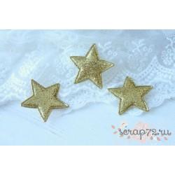 Объемное украшение Звезда с глиттером, цвет золото, 33мм, 1шт