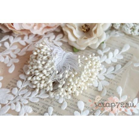Двусторонние тычинки, цвет белый, 5мм, 75 шт