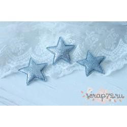 Объемное украшение Звезда с глиттером, цвет серебро, 33мм, 1шт