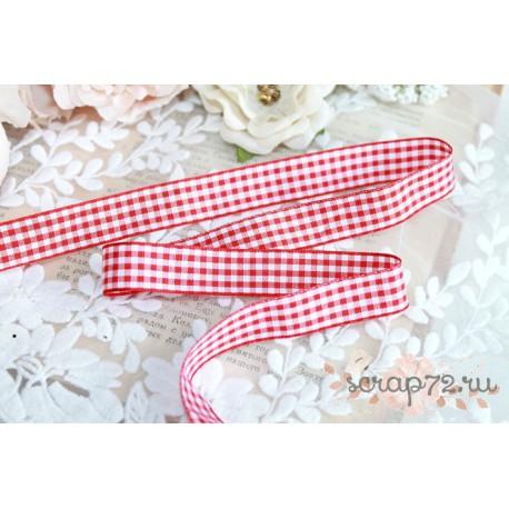 Лента декоративная Клетка 15мм, цвет красный/белый, 1м