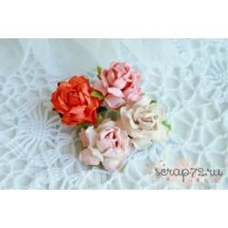 Розы коттеджные, 25мм, персиково-оранжевые оттенки, букет из 4 розочек разного цвета