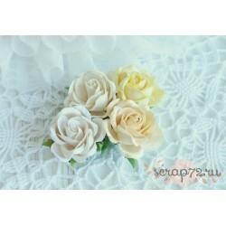 Роза Шпалера, оттенки желтого, букет из 4 розочек разного цвета, 35мм
