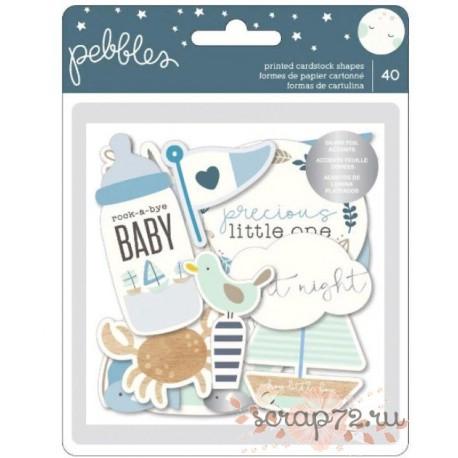 Набор высечек с серебряным фальгированием от Pebbles Night Night Baby Boy, 40шт