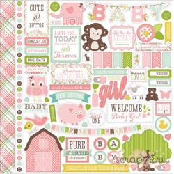 "Набор стикеров Echo Park Paper ""Bundle Of Joy / A New Addition"" (Baby Girl), 30*30см"