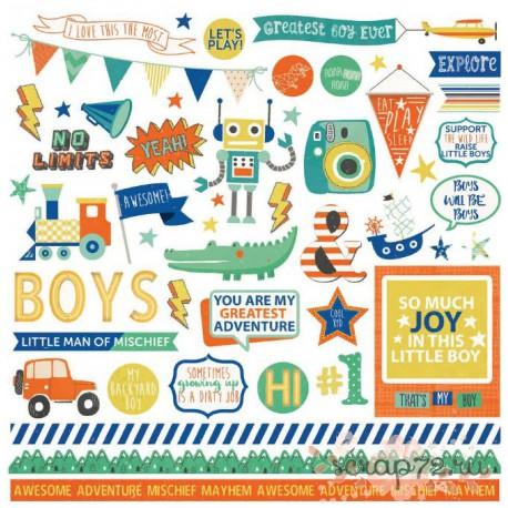 "Набор стикеров Photoplay Paper ""Boys Rule"", 30*30см"