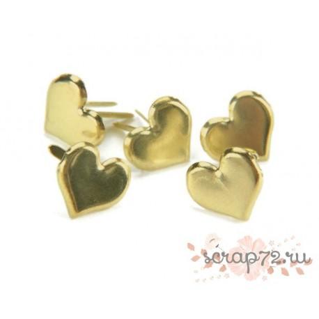 Набор брадс Сердечки, Creative Impressions, цвет Золото, 50шт