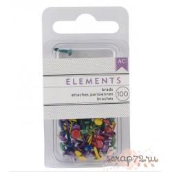 Мини брадсы от American Crafts, цвет Primary, 100шт