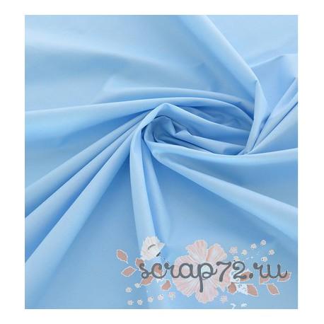 Плотный однотонный хлопок, цвет голубой, 53*50см