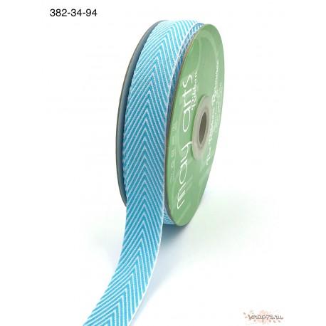 Лента Twill от May Arts, шеврон, цветбирюзовый (Turquoise), 19мм, 90см