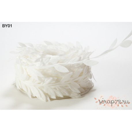 Лента с листочками от May Arts, цвет белый, 90см