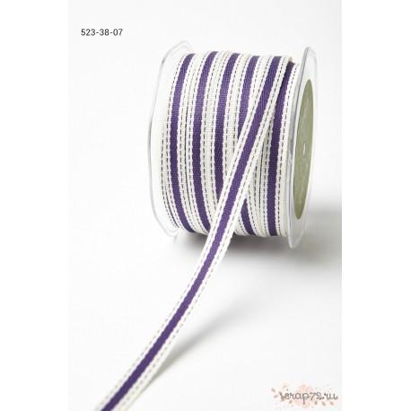 Декоративная лента от May Arts, цвет сливочный/фиолетовый, 10мм, 90см