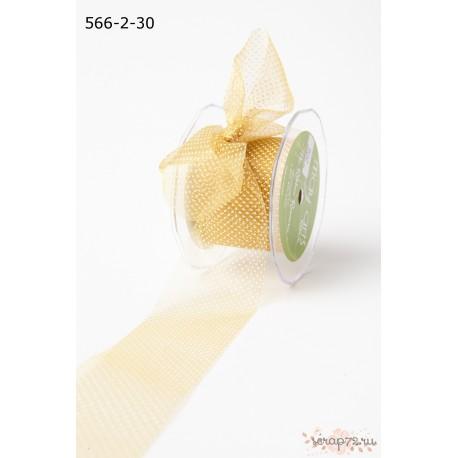 Лента  прозрачная от May Arts, цвет золото/белизна, 50мм, 90см